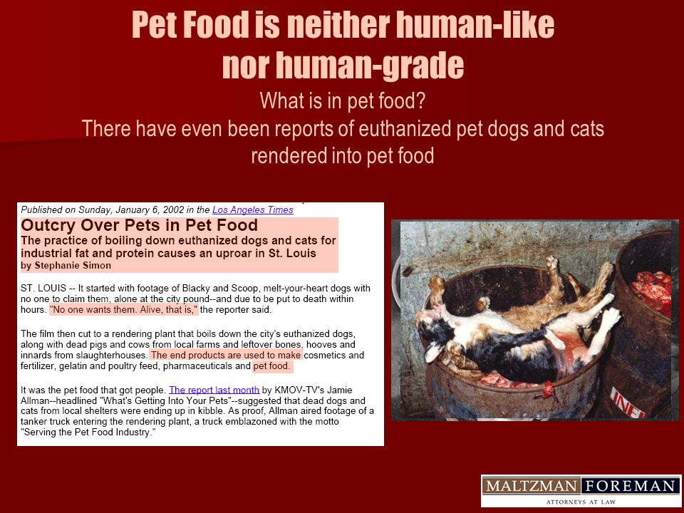 Pet Food is neither human-like nor human-grade What is in pet food.