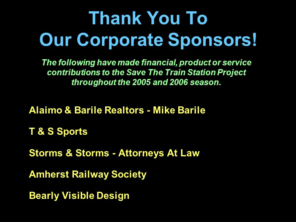 Thank You To Our Corporate Sponsors.