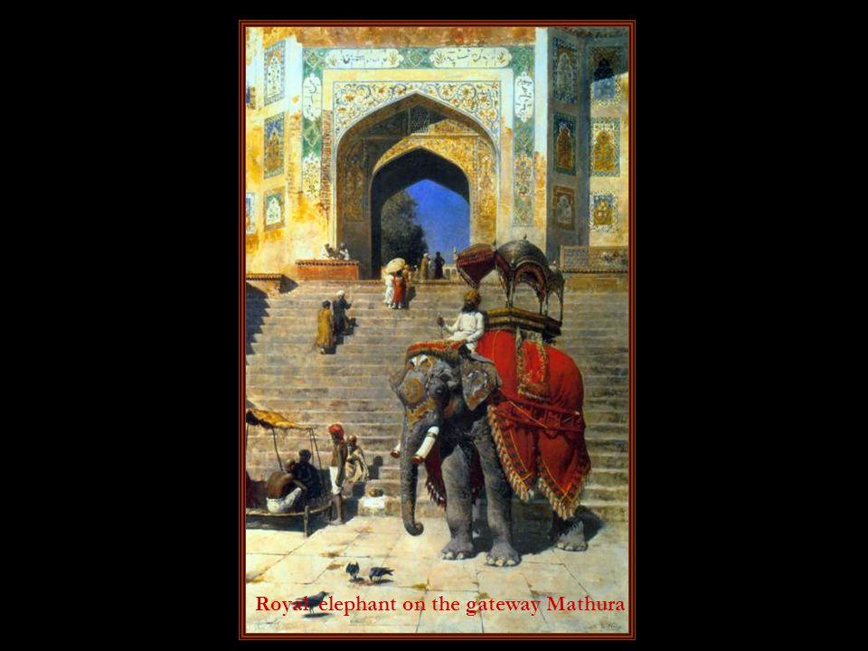 Royal elephant on the gateway Mathura