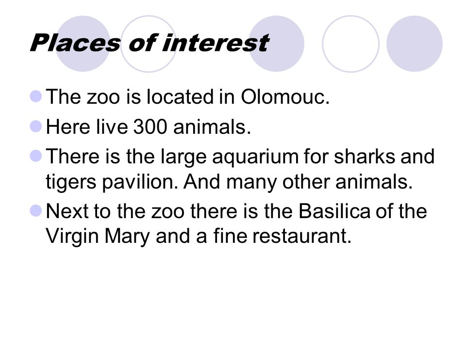 Places of interest The zoo is located in Olomouc. Here live 300 animals.