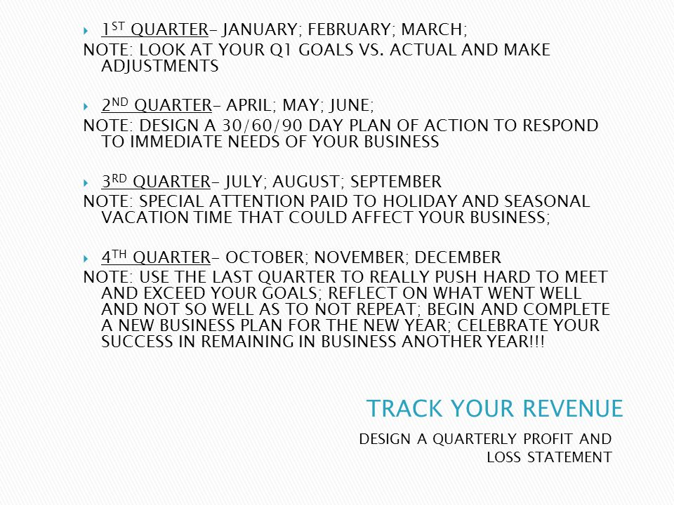 DESIGN A QUARTERLY PROFIT AND LOSS STATEMENT 1 ST QUARTER- JANUARY; FEBRUARY; MARCH; NOTE: LOOK AT YOUR Q1 GOALS VS.