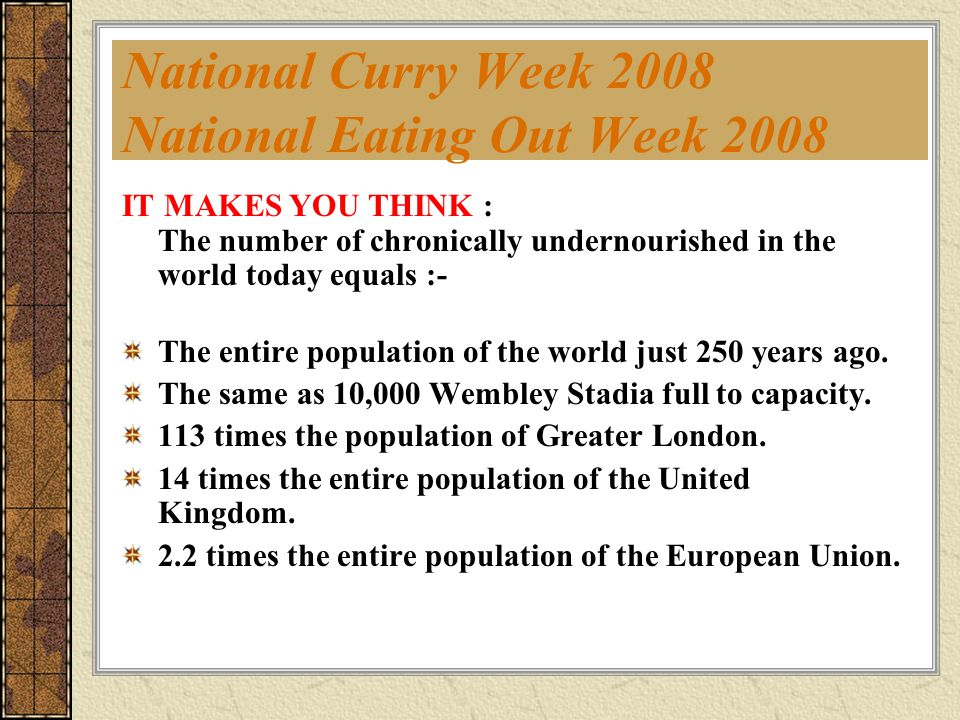 National Curry Week 2008 National Eating Out Week 2008 Who Can Participate.
