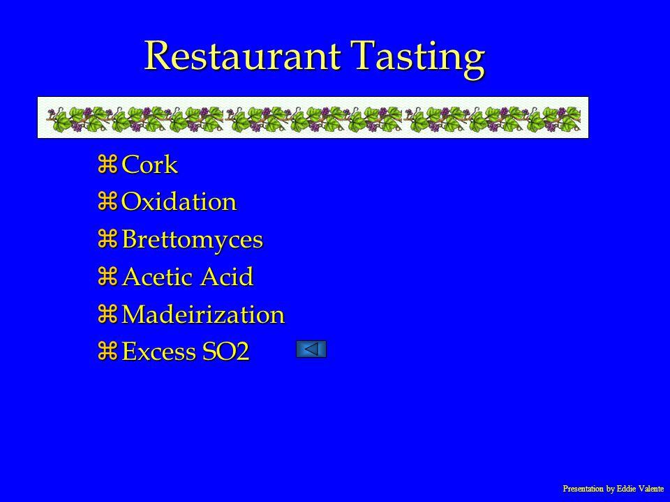 Presentation by Eddie Valente Restaurant Tasting zCork zOxidation zBrettomyces zAcetic Acid zMadeirization zExcess SO2