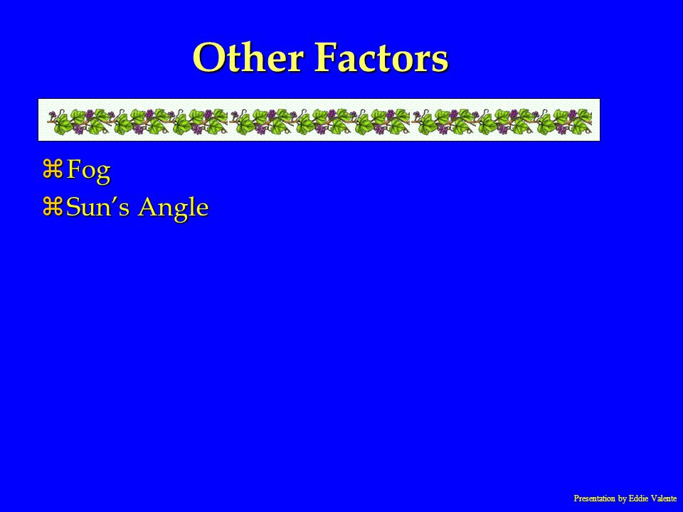 Presentation by Eddie Valente Other Factors zFog zSuns Angle