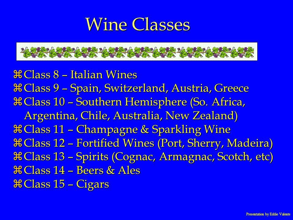 Presentation by Eddie Valente Wine Classes zClass 8 – Italian Wines zClass 9 – Spain, Switzerland, Austria, Greece zClass 10 – Southern Hemisphere (So
