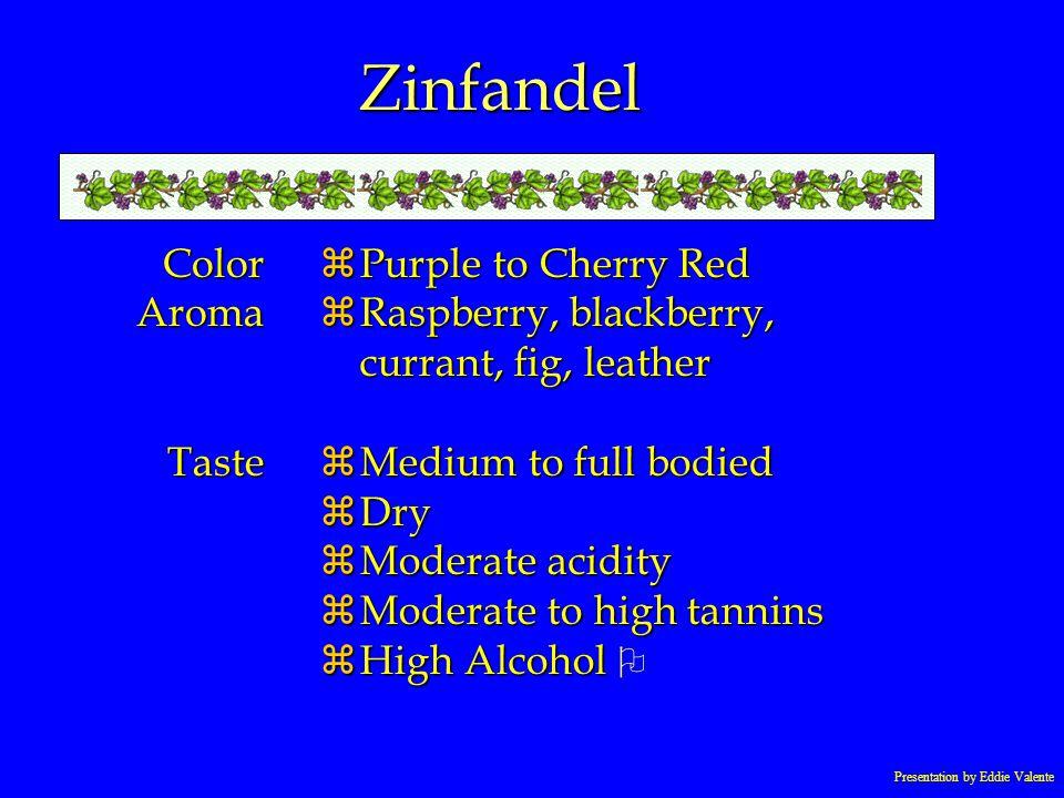 Presentation by Eddie Valente Zinfandel ColorAromaTaste zPurple to Cherry Red zRaspberry, blackberry, currant, fig, leather zMedium to full bodied zDr