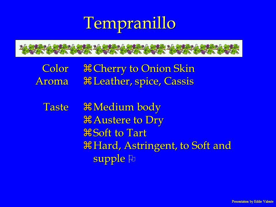 Presentation by Eddie Valente Tempranillo ColorAromaTaste zCherry to Onion Skin zLeather, spice, Cassis zMedium body zAustere to Dry zSoft to Tart Har