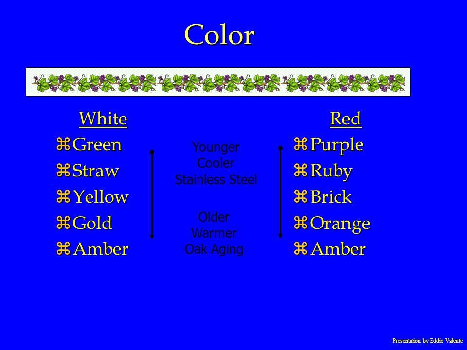 Presentation by Eddie Valente Color White zGreen zStraw zYellow zGold zAmber Red zPurple zRuby zBrick zOrange zAmber Younger Cooler Stainless Steel Ol