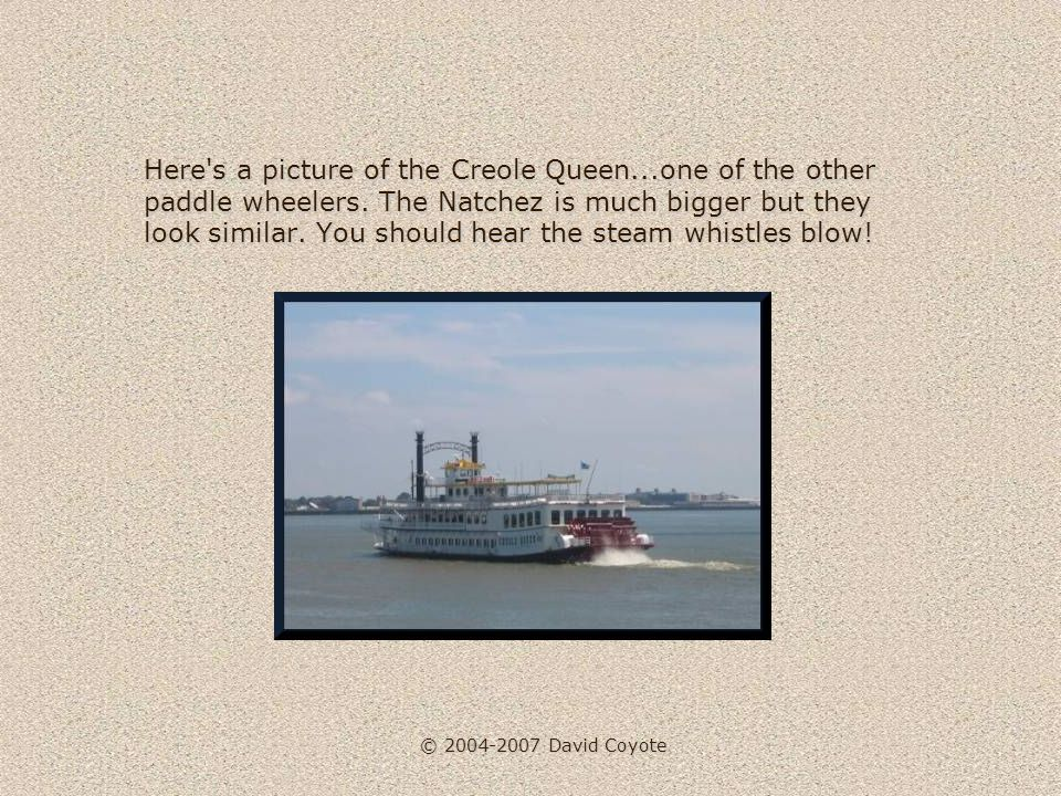 © 2004-2007 David Coyote Here s a picture of the Creole Queen...one of the other paddle wheelers.