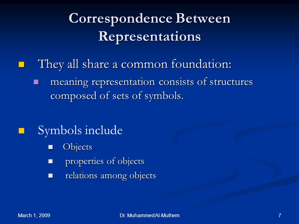 March 1, 2009 7Dr. Muhammed Al-Mulhem Correspondence Between Representations They all share a common foundation: They all share a common foundation: m