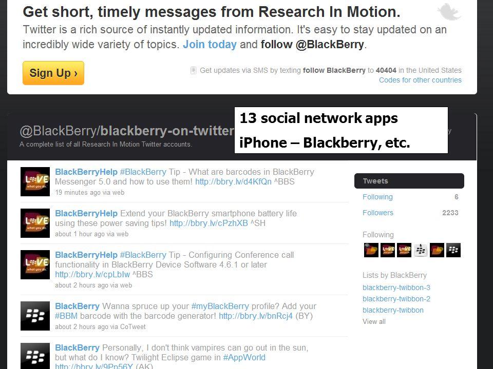 13 social network apps iPhone – Blackberry, etc.