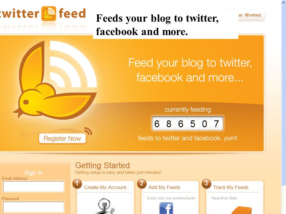 Feeds your blog to twitter, facebook and more.