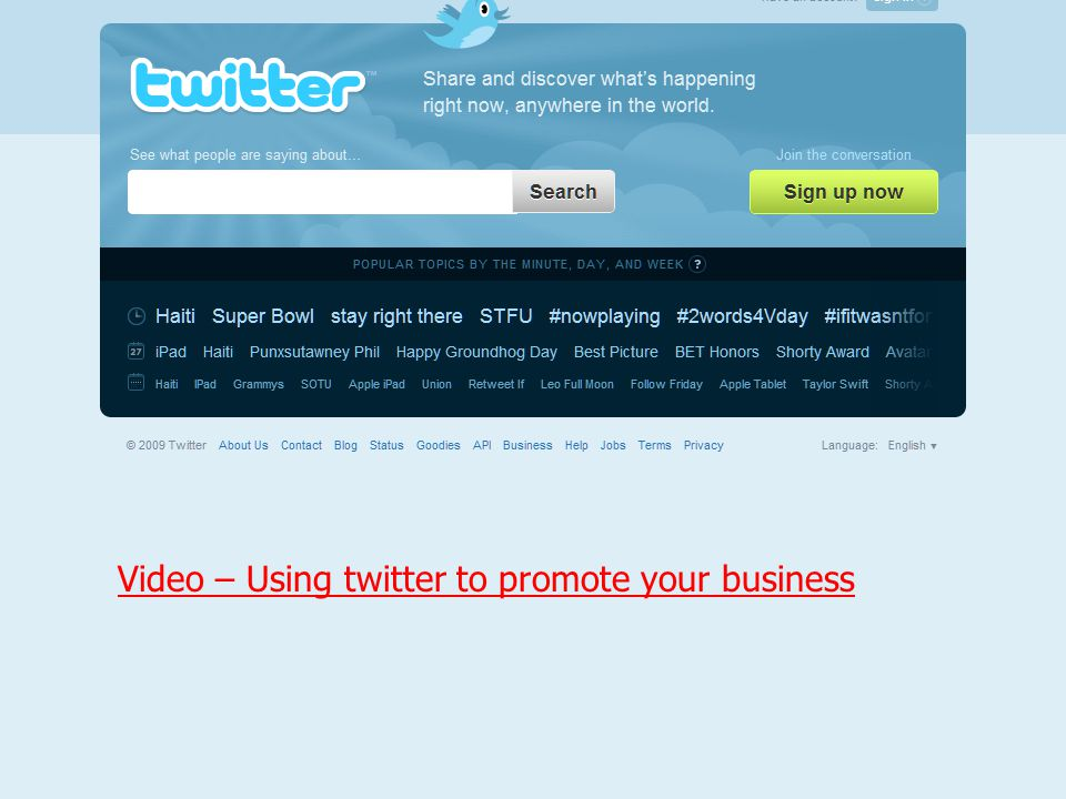 Video – Using twitter to promote your business