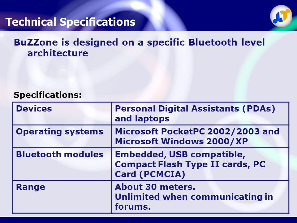 Technical Specifications BuZZone is designed on a specific Bluetooth level architecture DevicesPersonal Digital Assistants (PDAs) and laptops Operating systemsMicrosoft PocketPC 2002/2003 and Microsoft Windows 2000/XP Bluetooth modulesEmbedded, USB compatible, Compact Flash Type II cards, PC Card (PCMCIA) RangeAbout 30 meters.