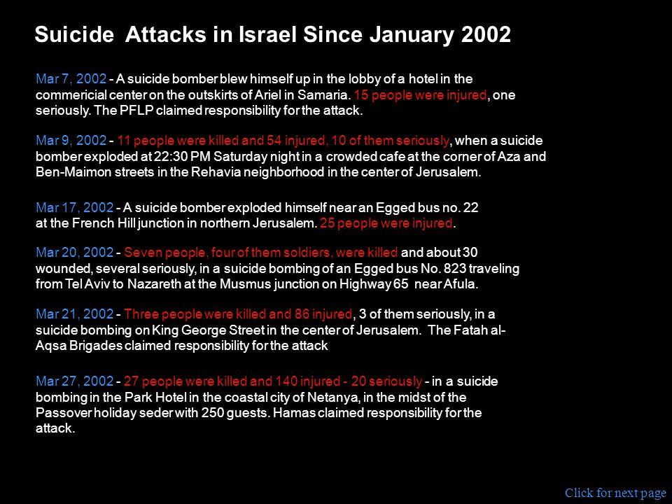Suicide Attacks in Israel Since January 2002 Jan 25, 2002 - 25 people were wounded when an Arab suicide bomber detonated explosives outside a cafe In a pedestrian mall near Tel Aviv.