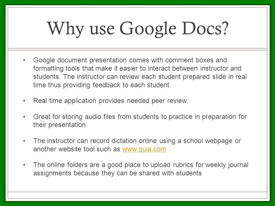 Why use Google Docs.