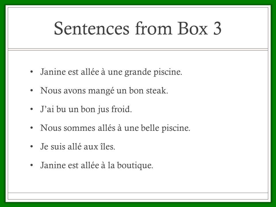 Sentences from Box 3 Janine est allée à une grande piscine.