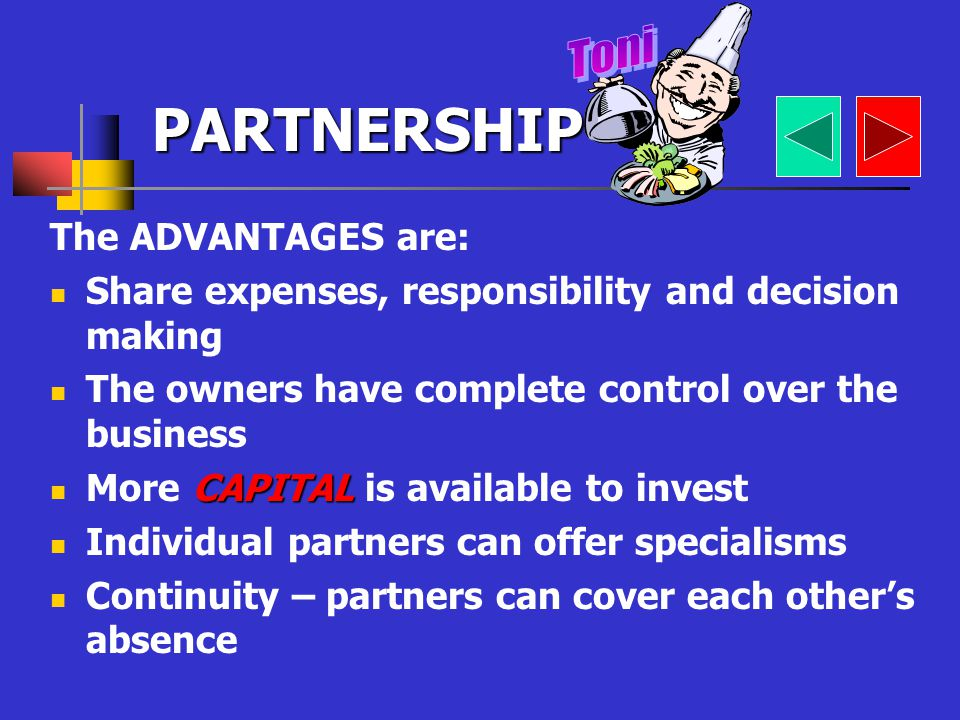 DEFINITION: A group or association of between 2 and 20 people who agree to own and run a business together PARTNERSHIP AGREEMENT CAPITAL Toni offered