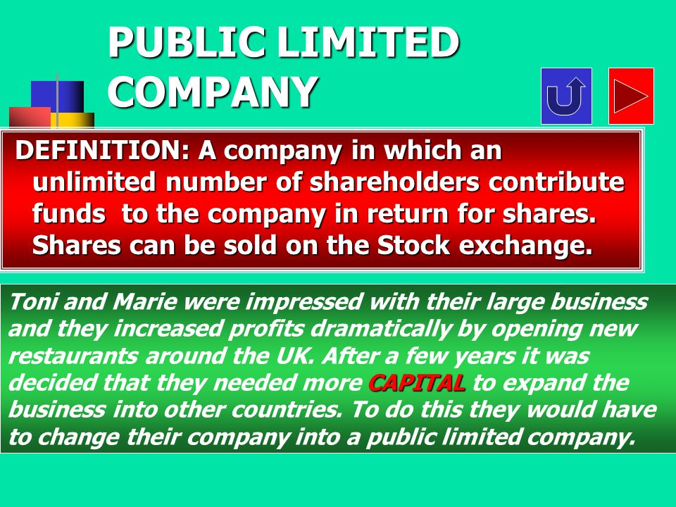 D B C A What does Ltd mean ? What does Ltd mean ? Limited companyPublic limited company Large companyLifted company Questions 50:50 50:50 InternetAsk
