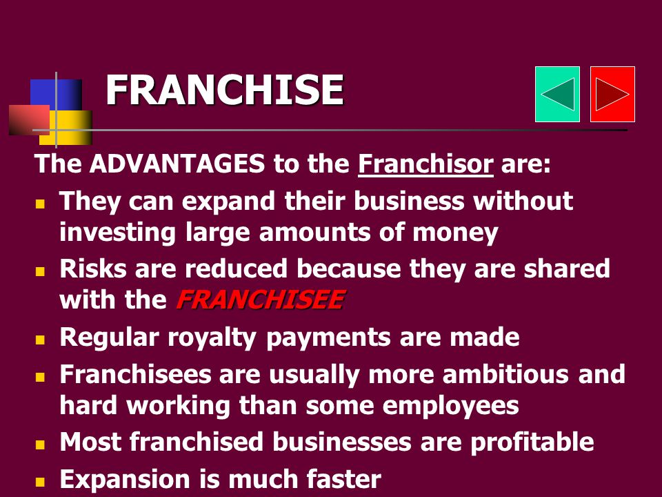 DEFINITION: the granting by one company to another company of the right to use its products and image FRANCHISORFRANCHISEES Toni and Maries thought it