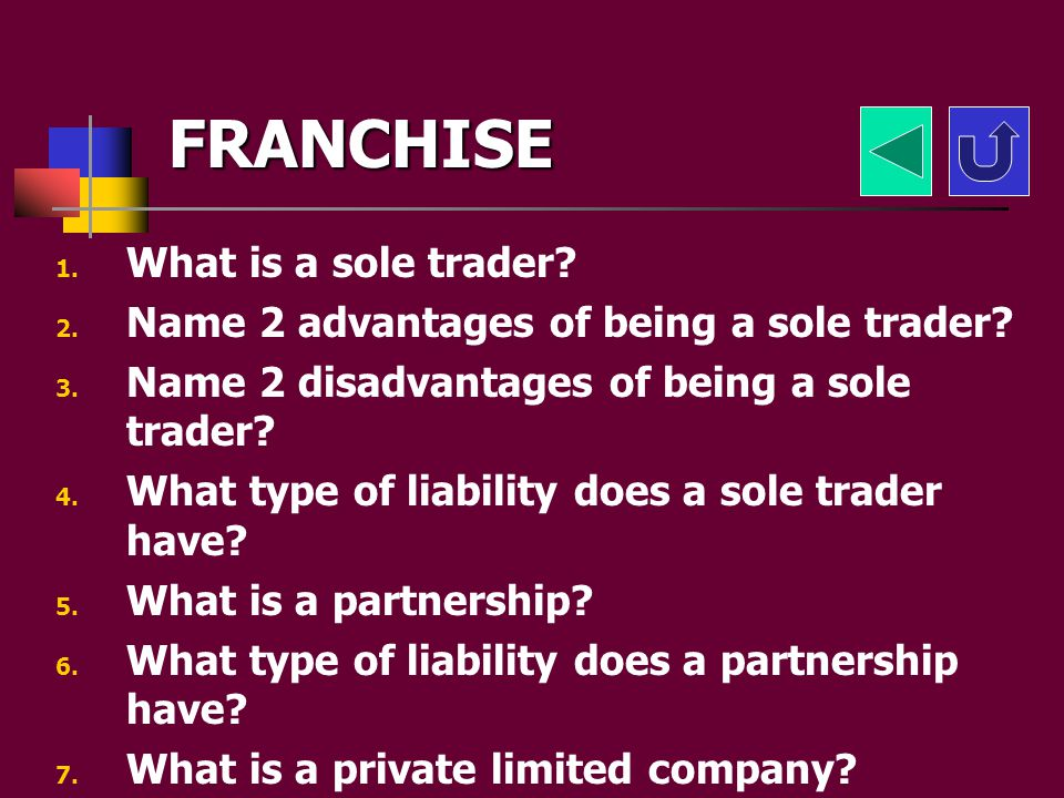 FRANCHISE If youve written down all the notes here are some challenges to test your knowledge. Click here for multiple choice questions Click here for