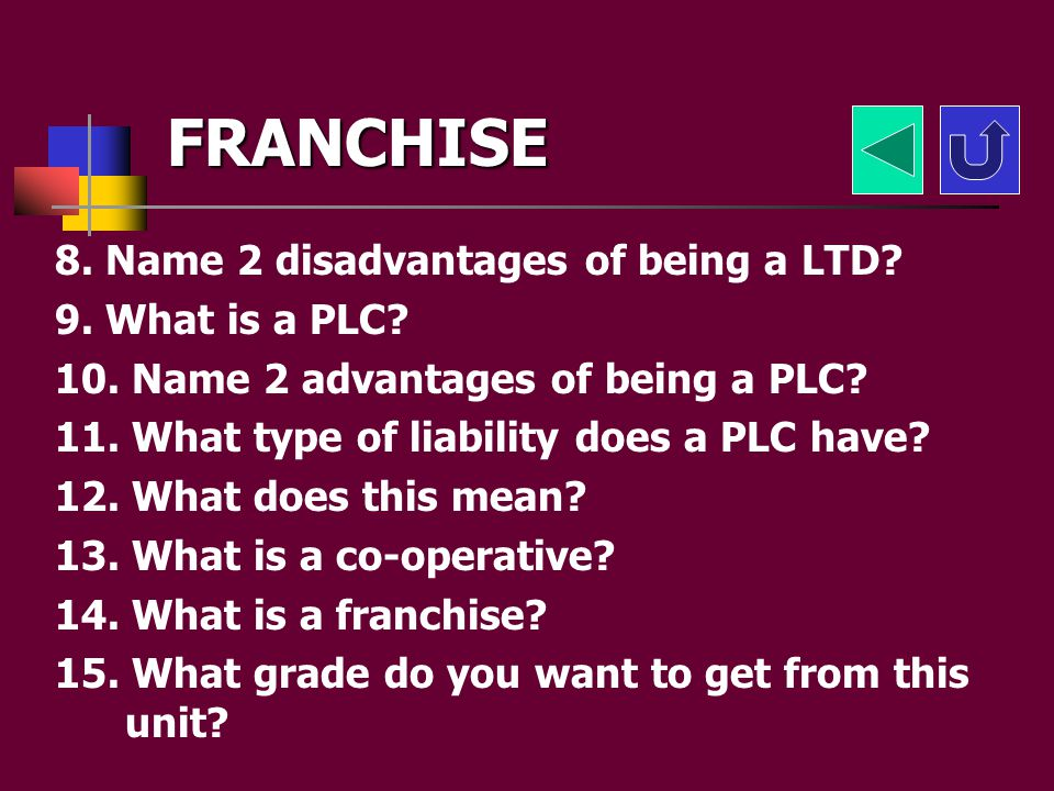 FRANCHISE 1. What is a sole trader? 2. Name 2 advantages of being a sole trader? 3. Name 2 disadvantages of being a sole trader? 4. What type of liabi