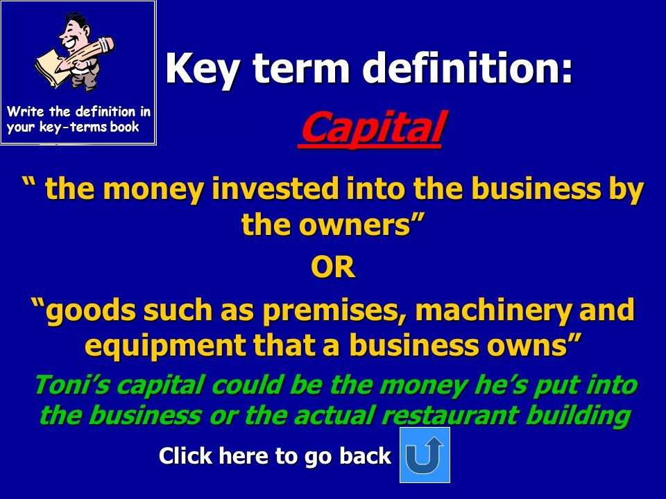 Key term definition: Key term definition: Shareholders Shareholders Click here to go back These are the owners of a limited company. They buy shares w