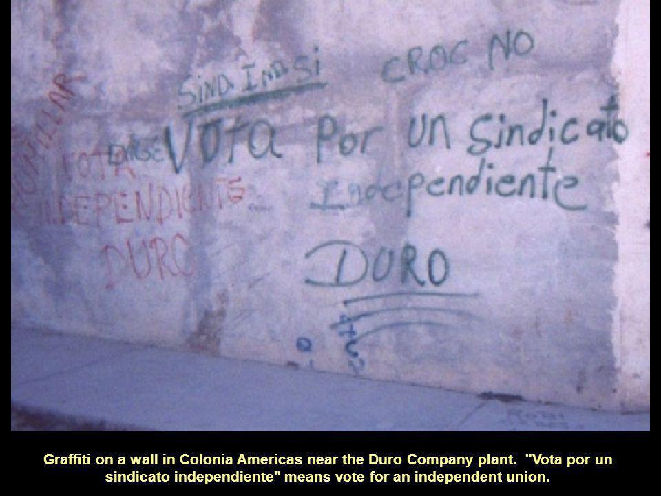 Graffiti on a wall in Colonia Americas near the Duro Company plant.