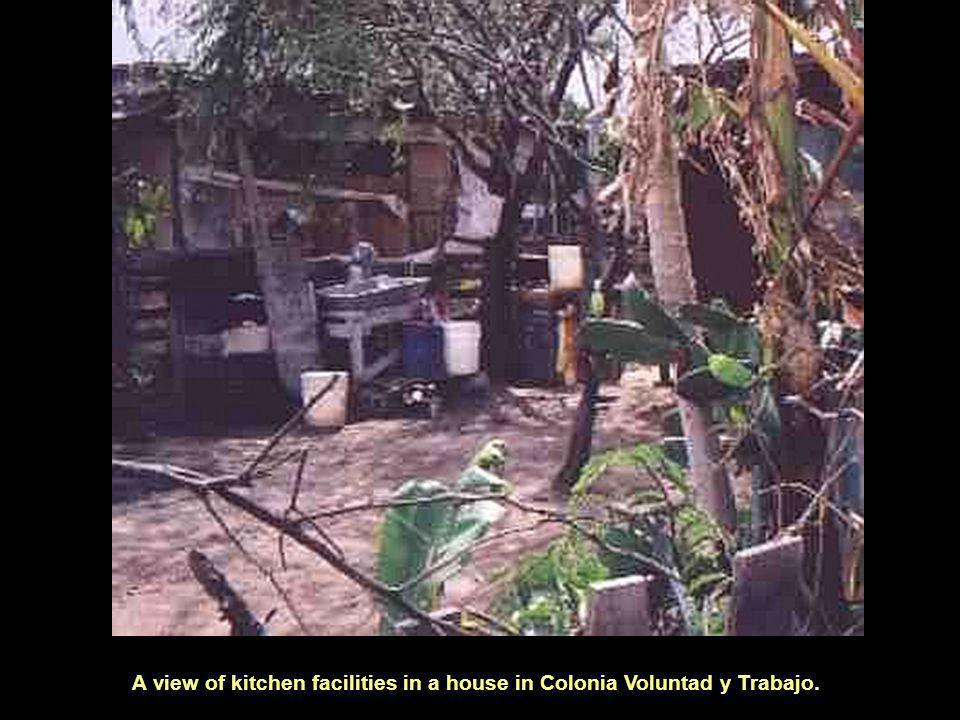 A view of kitchen facilities in a house in Colonia Voluntad y Trabajo.