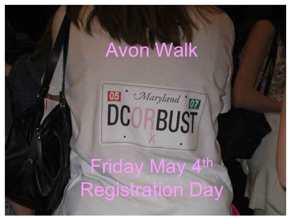 Avon Walk Friday May 4 th Registration Day