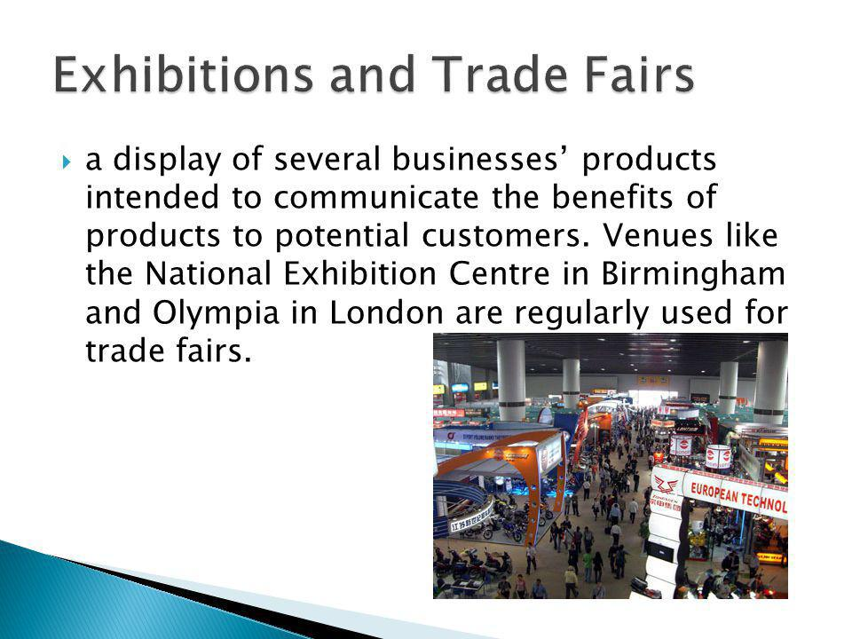 a display of several businesses products intended to communicate the benefits of products to potential customers.
