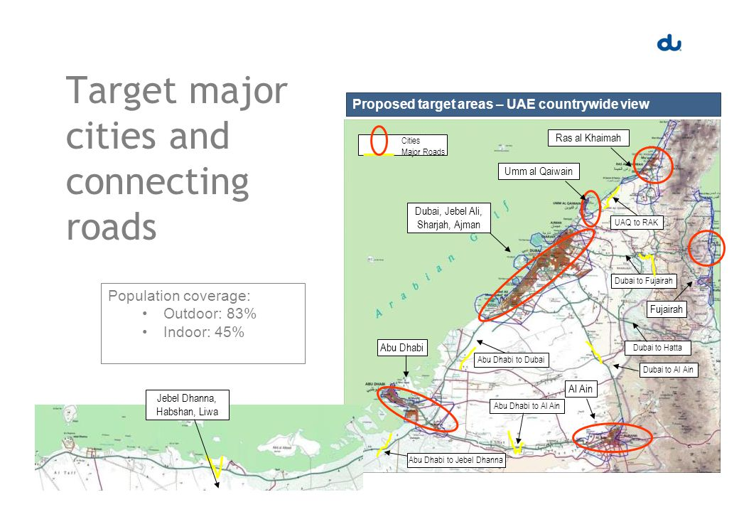 Target major cities and connecting roads Proposed target areas – UAE countrywide view Abu Dhabi Dubai, Jebel Ali, Sharjah, Ajman Umm al Qaiwain Fujairah Al Ain Abu Dhabi to Dubai Abu Dhabi to Al Ain Dubai to Al Ain Dubai to Fujairah Dubai to Hatta Abu Dhabi to Jebel Dhanna Ras al Khaimah UAQ to RAK Cities Major Roads Jebel Dhanna, Habshan, Liwa Population coverage: Outdoor: 83% Indoor: 45%