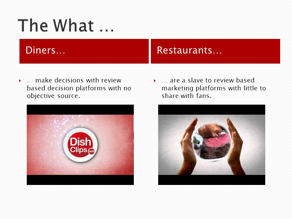 Diners…Restaurants… … make decisions with review based decision platforms with no objective source.