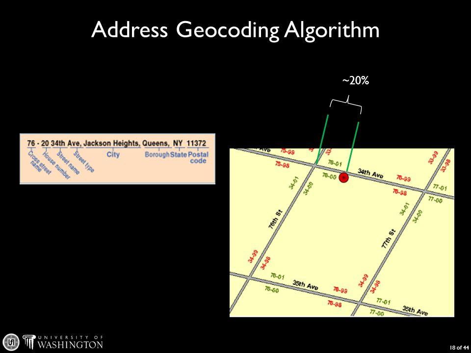 Address Geocoding Algorithm 18 of 44 ~20%