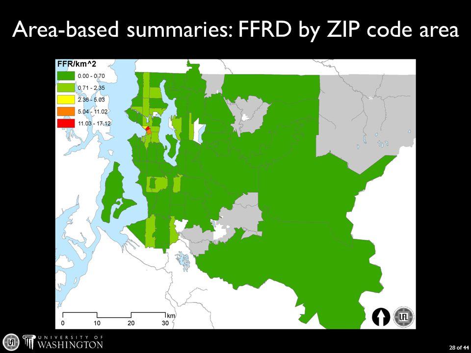 Area-based summaries: FFRD by ZIP code area 28 of 44