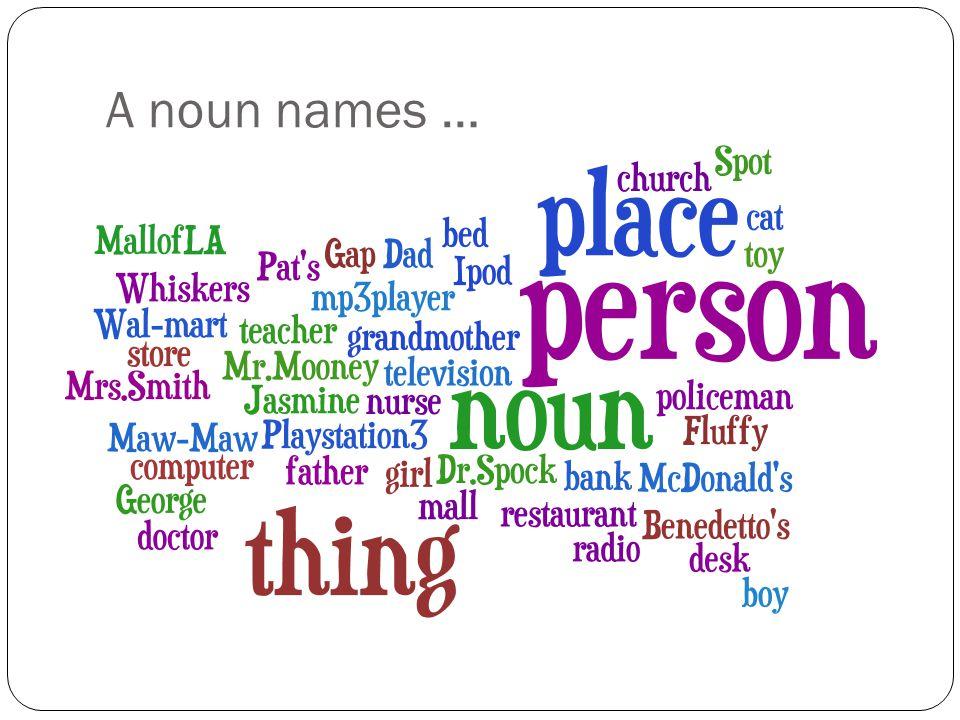 A noun names …