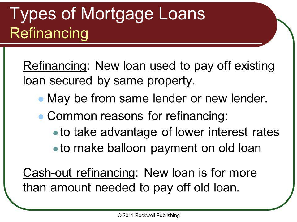 Types of Mortgage Loans Refinancing Refinancing: New loan used to pay off existing loan secured by same property. May be from same lender or new lende