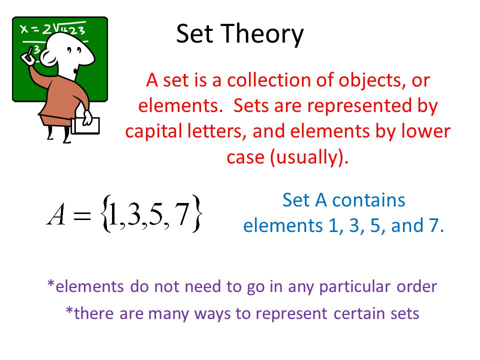 Set Theory A set is a collection of objects, or elements.