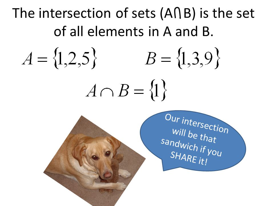 The intersection of sets (A B) is the set of all elements in A and B.