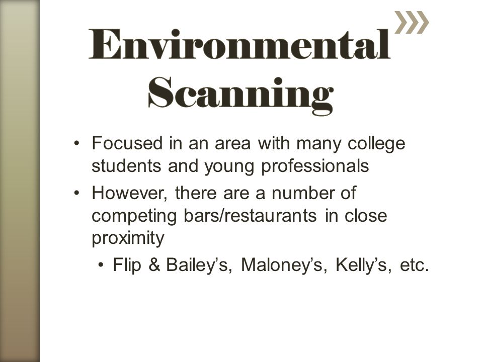 Focused in an area with many college students and young professionals However, there are a number of competing bars/restaurants in close proximity Flip & Baileys, Maloneys, Kellys, etc.