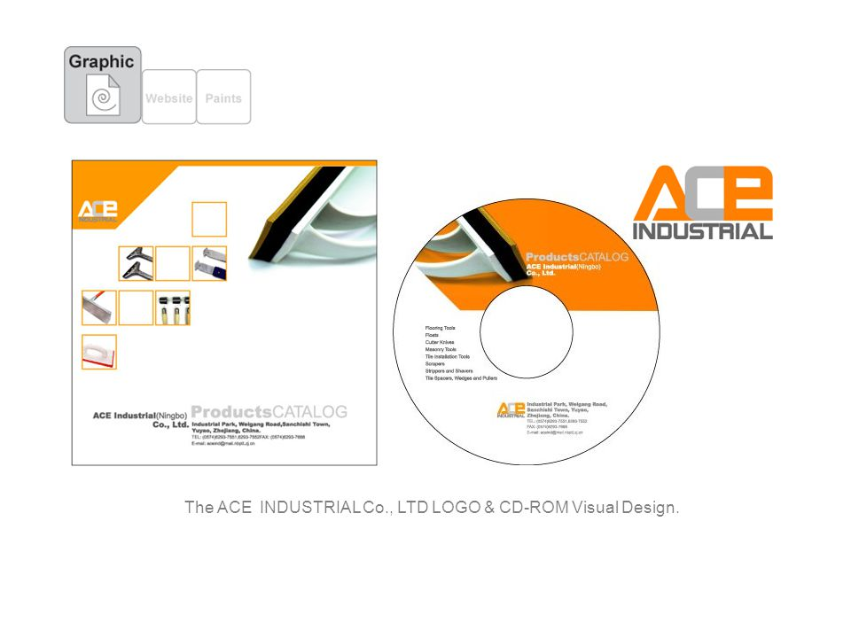 The ACE INDUSTRIAL Co., LTD LOGO & CD-ROM Visual Design.