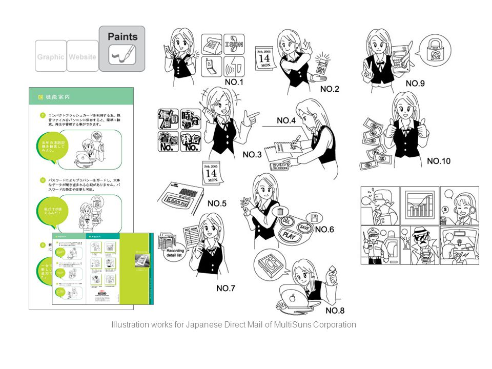 Illustration works for Japanese Direct Mail of MultiSuns Corporation