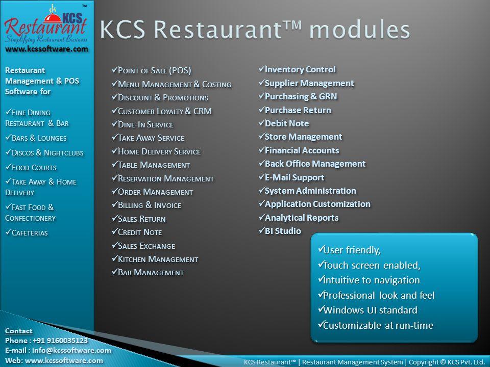 KCS Restaurant | Restaurant Management System | Copyright © KCS Pvt.