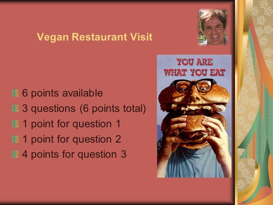 Vegan Restaurant Visit 6 points available 3 questions (6 points total) 1 point for question 1 1 point for question 2 4 points for question 3