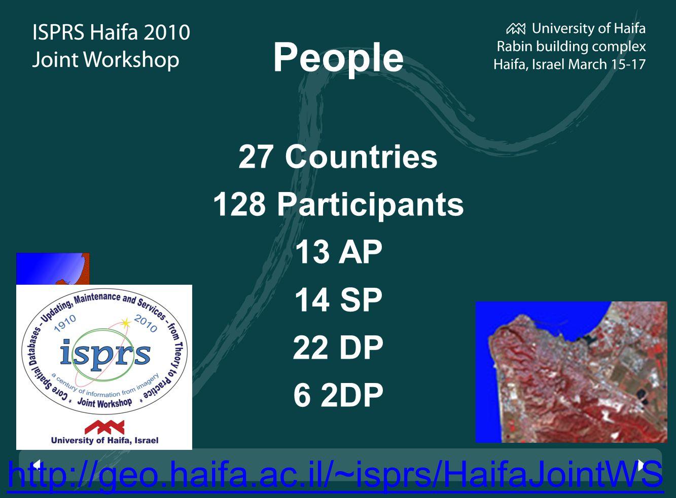 http://geo.haifa.ac.il/~isprs/HaifaJointWS People 27 Countries 128 Participants 13 AP 14 SP 22 DP 6 2DP