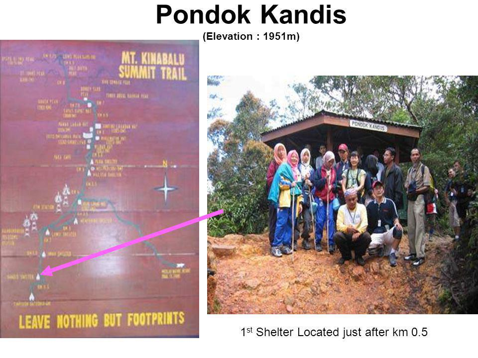 Pondok Kandis (Elevation : 1951m) 1 st Shelter Located just after km 0.5