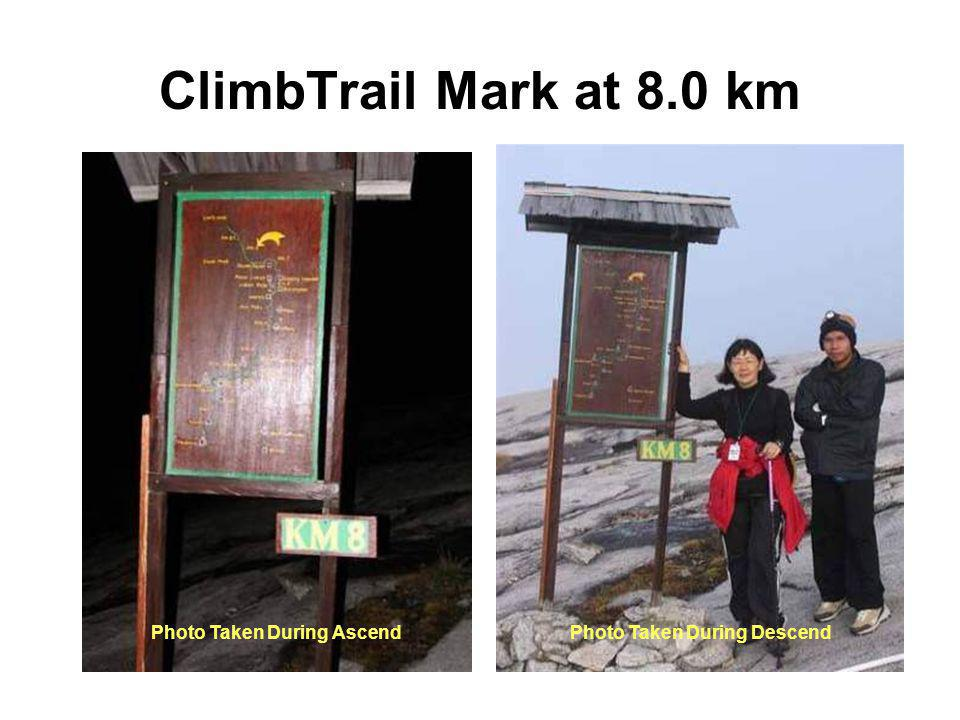 ClimbTrail Mark at 8.0 km Photo Taken During AscendPhoto Taken During Descend
