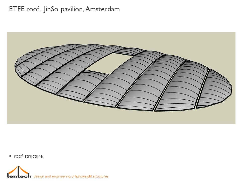 ETFE roof. JinSo pavilion, Amsterdam design and engineering of lightweight structures roof structure