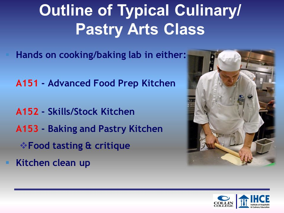Hands on cooking/baking lab in either: A151 - Advanced Food Prep Kitchen A152 - Skills/Stock Kitchen A153 - Baking and Pastry Kitchen Food tasting & c