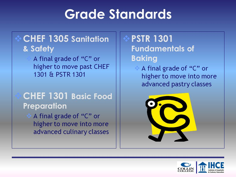 Grade Standards CHEF 1305 Sanitation & Safety A final grade of C or higher to move past CHEF 1301 & PSTR 1301 CHEF 1301 Basic Food Preparation A final grade of C or higher to move into more advanced culinary classes PSTR 1301 Fundamentals of Baking A final grade of C or higher to move into more advanced pastry classes